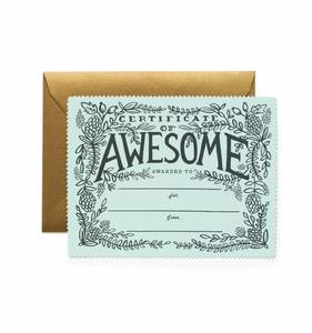 [Rifle Paper Co.] Certificate of Awesome Card