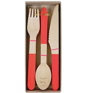 [Meri Meri] Birch Tree Curtlery Red (8set)
